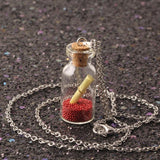 collares choker necklace long collier Cute Wish Bottle Necklace Silver Chain with Letter Glass Pandent for Women vintage NR2197