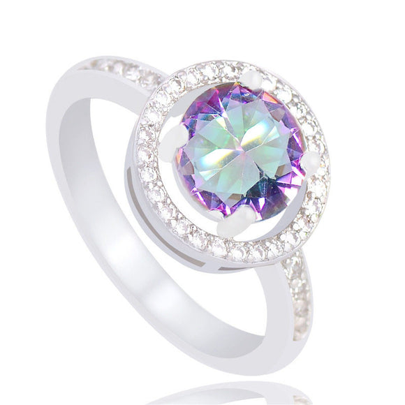 33 - Unique Silver Color Ring AAA Multicolor Round Crystal Cubic Zirconia CZ Ring