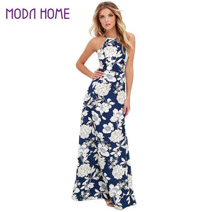2017 Sexy Women Maxi Boho Dress Halter Neck Floral Print Sleeveless Summer Dress Holiday Long Beach Dress Vestidos Party Dresses