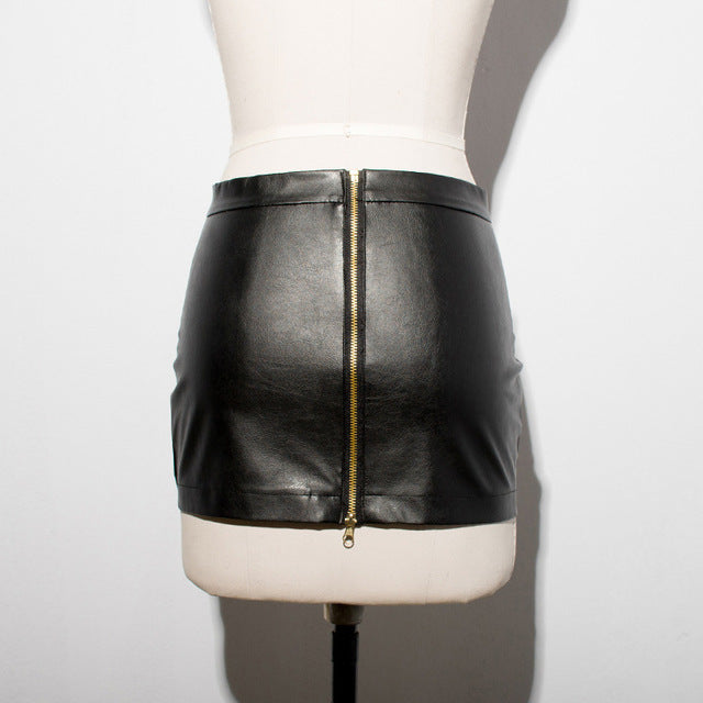 a41bd3141 ... Hot Sexy Zipper Micro MINI Skirt Faux Leather Skirt Tight Hip Slim High  Waist With Belt