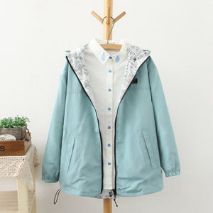 Spring Autumn 2017 Fashion Women Jacket Coat Pocket Zipper Hooded Two Side Wear Cartoon Print Outwear Loose Plus Size