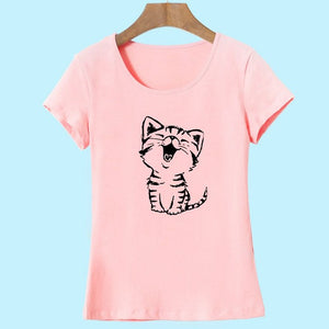 2017 Summer New Fashion Women's Casual O-Neck T Shirt Tops Camisas with Funny Cat Print and Short Sleeve HH08
