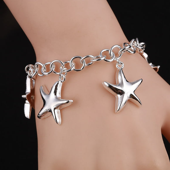 Fashion Silver Jewelry Hot Luxury Famous Brand Silver Bracelet Fashion Jewelry Star Pendant Charm Bracelet For Women pulseiras