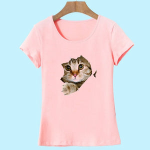 2017 Brand New Fashion Summer Harajuku Animal Cat Print Shirt O-Neck Short Sleeve T Shirt Women Tops White Pink Yellow T-shirt