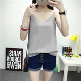 Chiffon Tank Top Fashion Fitness Women Summer Tops Sleeveless Black Sexy V Neck