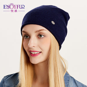 ENJOYFUR Spring Autumn hats for women knitted wool beanies hat 2017 new good quality female hat
