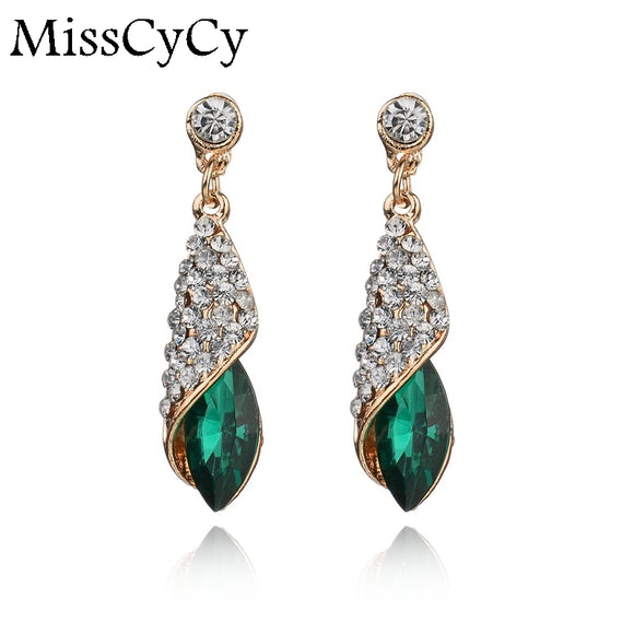 Fashion Brand Alloy Gold Colors Statement Austria Blue Crystal Long Earrings Rhinestone Water Drop Elegant Earring Jewelry