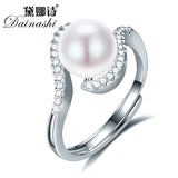 Dainashi 8-9mm Pearl Rings For Women White Fashion Natural Freshwater Pearl 925 Silver Ring Geometric Wedding Ring Pearl Jewelry