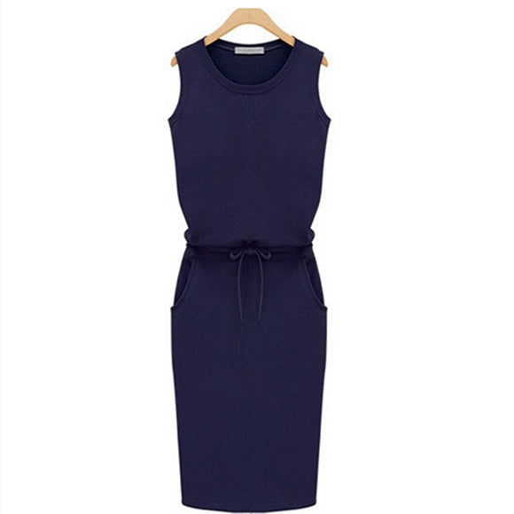 Casual Sleeveless Cotton Dress with Belt
