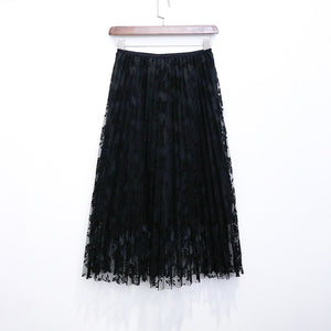 2017 New Summer Skirts Elegant Lace Pleated Skirt Solid 4 Colors Women High Waist Skirt Sexy All-match Spring Skirts Saia Longa