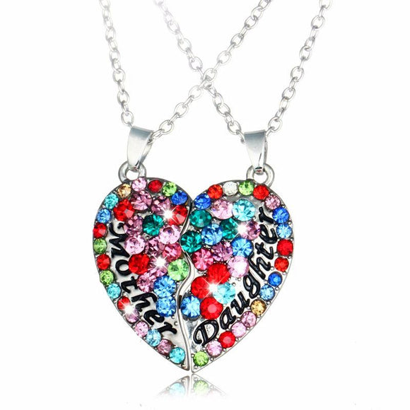 Multicolor Crystal Rhinestone Mother Daughter Heart Necklace
