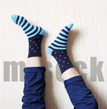 S83 High quality combed cotton men polka dot strip happy socks  color brand designer casual novelty dress business