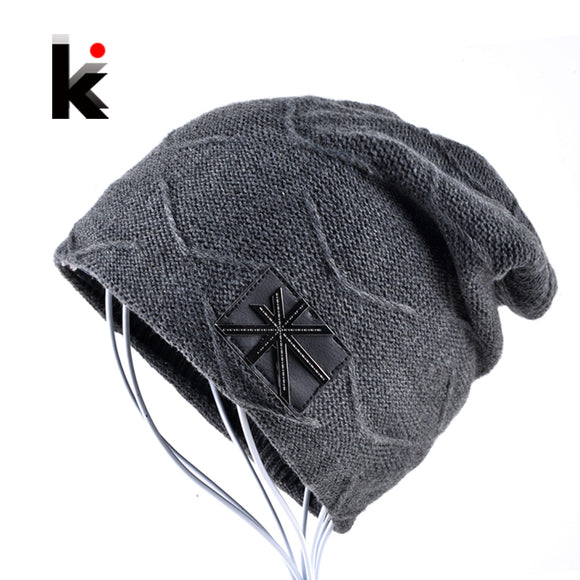 2017 Autumn And Winter beanies mens hats Union flag Casual Cap knitted hat bonnet plus velvet caps for men beanie