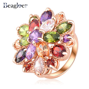 61 - Fashion Multicolor Rose Gold Color AAA Zircon Ring