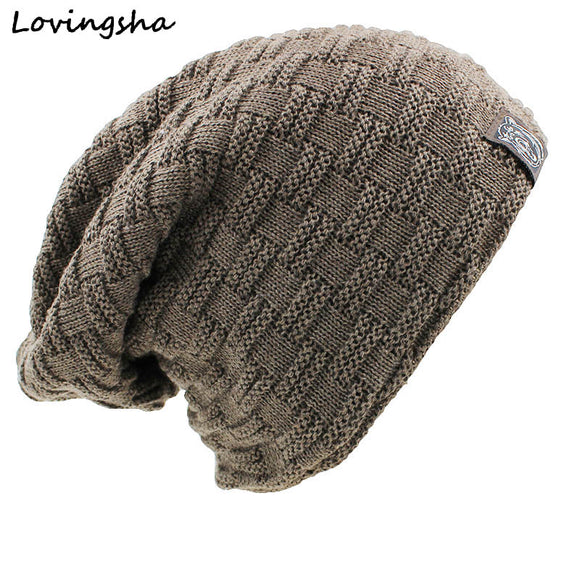 LOVINGSHA Solid Design Skullies Bonnet Winter Hats For Women Men Beanie Men's Faux Fur Warm Baggy Knitted Knit Winter Hat Caps