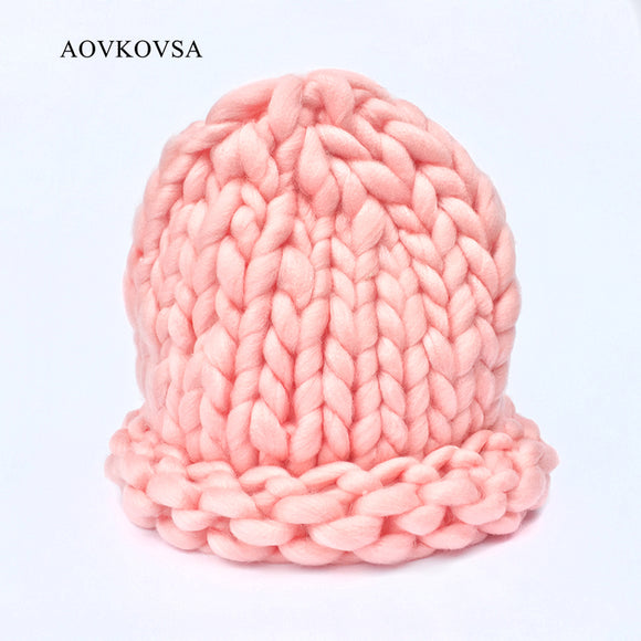 2017 Solid Adult Casual Cotton Acrylic Rushed New Fashion Female Winter Hats Hand Coarse Knitted Hat For Women Beanies