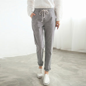 2017 Autumn Women Casual Long Pants Elastic Waist Pockets Elegant Retro Vertical StripeThin Slim Cotton Blend Trousers
