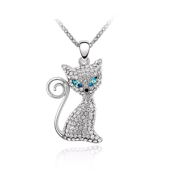 Rhinestone Crystal Cat Pendant Necklaces