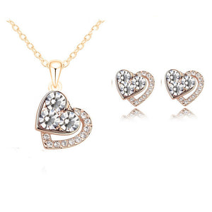 Arrival Heart Crystal African Fashion Costume Jewelry Sets for Women Pendants Necklace Earrings Sets