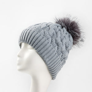 New Add Lining Knitted Winter Hats Women Warm Fur Pompom Cap Skullies & Beanies For Women High Quality Girls Hats
