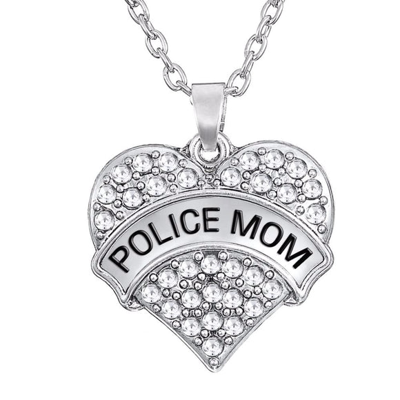 Crystal Big Heart Police Mom Pendant Necklace