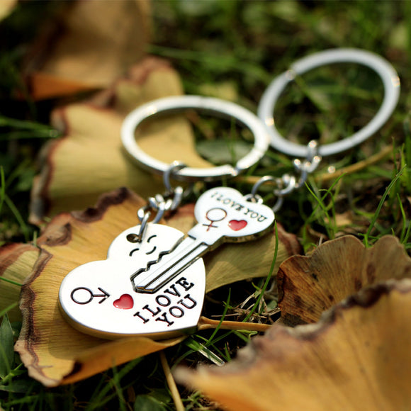 New 1 Pair Couple I LOVE YOU Letter Keychain Heart Key Ring Silvery Lovers Love Key Chain Souvenirs Valentine's Day gif ln