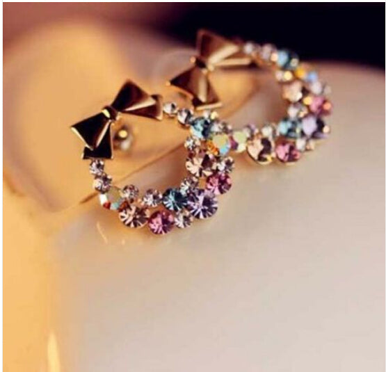 New Women's Fashion Imitation Colorful Rhinestone Bow Earrings Vintage Jewelry CED01