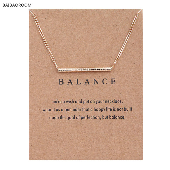 Balance Wood Straight Bar Alloy Clavicle Snake Pendant Short Necklace