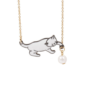 1PC Fashion Jewelry Cute Cat Pandent Necklaces For Women Gold Color Simulated Pearl Link Chain Necklace Choker