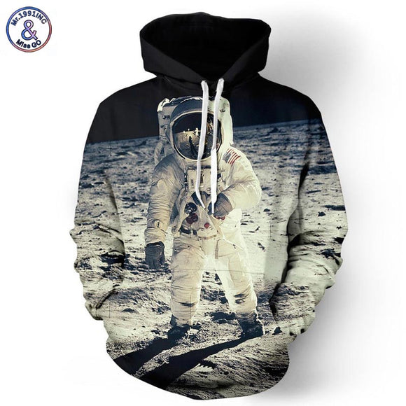 Mr.1991INC 2017 New Fashion Cap Hoodies For Men/Women 3d Sweatshirt Print Astronaut Moon Landing Hooded Hoodies Pullover Hoody