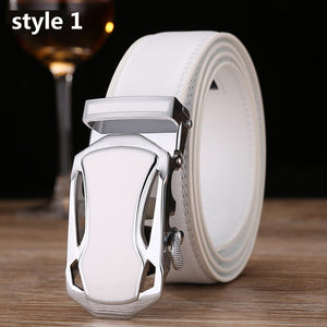Belt for Men Luxury Designer High Quality Male Genuine Leather Strap White Automatic Buckle Belt