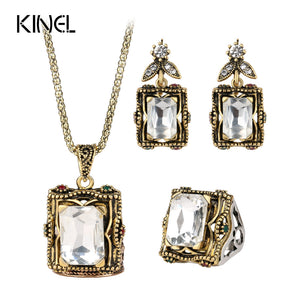 3pcs Vintage Wedding Jewelry Sets 2016 New Fashion Antique Gold Color Mosaic Big Glass Ring Earring Necklace For Women