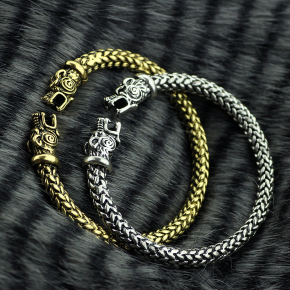 Punk Handmade Norse Viking Snake Bangles Bracelets Snake Head Vintage Cuff Bangle For Men Women Plated bronze Steel Bracelets
