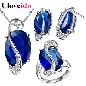 50% Off Jewelry Set Necklaces & Pendants Earrings Ring Crystal Jewellery New Silver Charms Wedding Jewelry Sets Uloveido T155