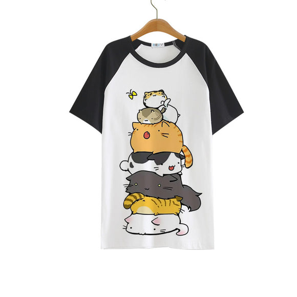 2017 New Cute Neko Atsume Cosplay T-shirt Cosplay Anime The Cat yard T Shirt Men Women Summer Polyester tops Tees