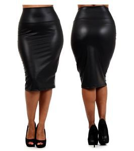 6XL PLUS BIG SIZE Black Office Skirt 2017 women Talla Faux Leather High Waist Below Knee Pencil  Long Sexy PU Skirt