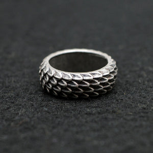 67 -   Unique Dragonscale Rings Antique Silver RG96