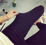 Aselnn 2017 Spring&summer New Fashion Women Vertical Striped Pants  Female Pencil Ankle-length Pants White Black Pants