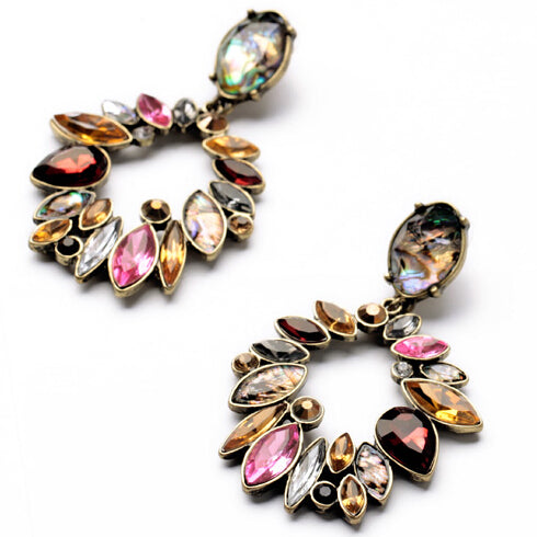 ATHENA 2018 Classic Vintage Brand Colorful Crystal Round Earrings For Women