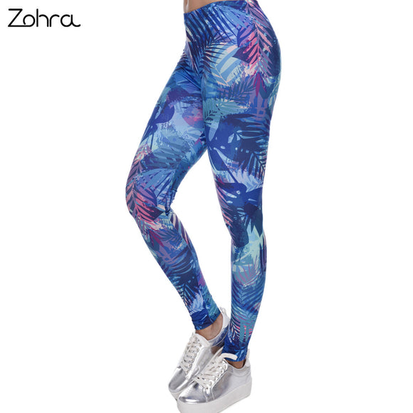 Zohra New Fashion Women Leggings Tropical Leaves Printing Blue Fitness Legging Sexy Silm Legins High Waist Stretch Trouser Pants