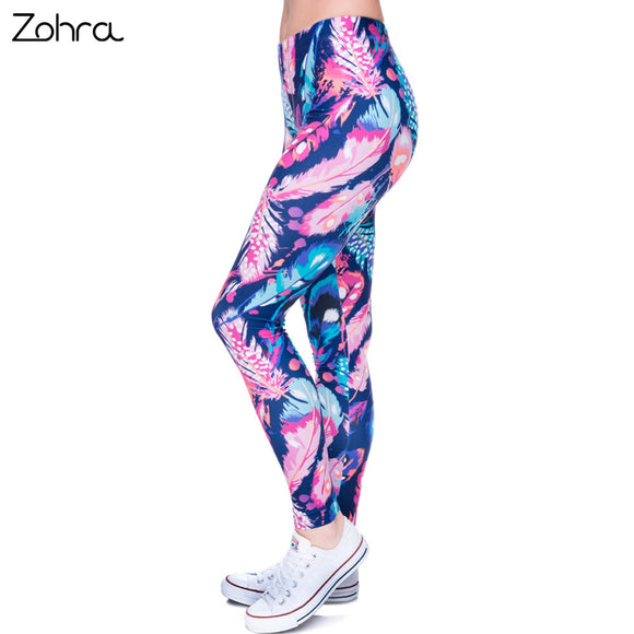 Zohra High Quality Leggings Feathers Color Printing Fitness Legging Elasticity Leggins High Waist Slim Sexy Legins Trouser Pants