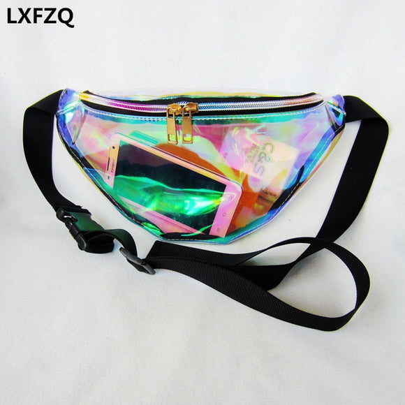 2017 new fanny pack women's handbags Laser purse translucent reflective chest waist bag women belt bag waist leg bag waist pack