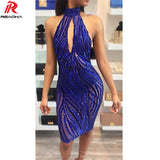 Women Sexy Halter summer sequin dresses Elegant Knee-Length sequined party dress woman backless sundress purple