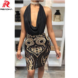 Women elegant Sequin dress Sexy bandage summer dress bodycon Mesh beach short Halter black party dresses HL vestidos