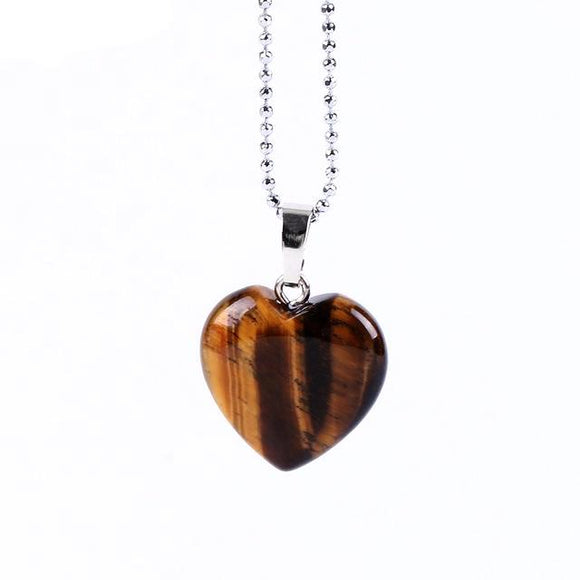 Natural Gem Stone Heart Shape Necklaces Pendants