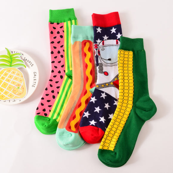 S93 1 pair new brand men cotton casual socks in tube novelty harajuku designer fashion street watermelon skateboard long funny socks