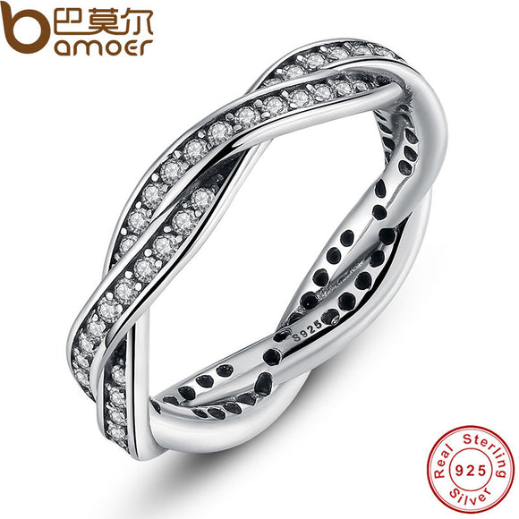 925 Sterling Silver BRAIDED PAVE SILVER RING with Clear CZ Authentic Twist Of Fate Stackable Twisted Ring Jewelry PA7116
