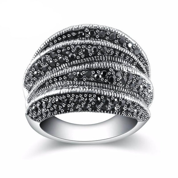 Pave Setting Black Marcasite Blink Ring
