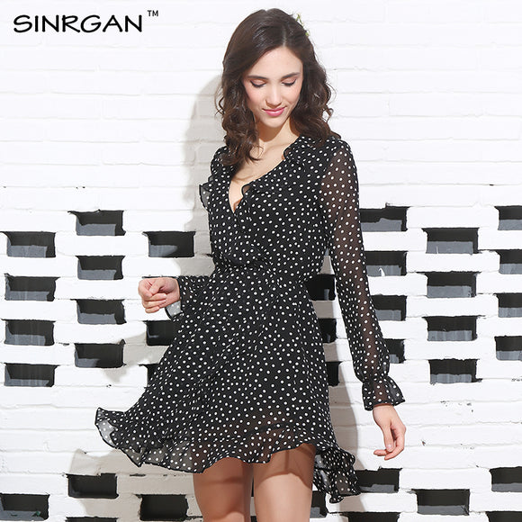SINRGAN Ruffle Polkadot Print Summer Dress Vintage Irregular Bow Wrap Short Dress Women Chic Chiffon Black Dress Beach Dresses