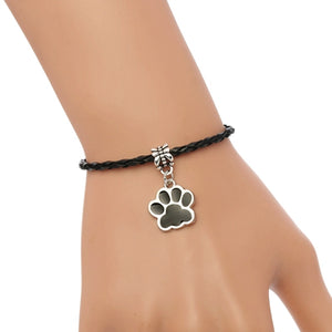 NEW Jewelry Fashion Leather Wristband Cuff Animals Cats And Dogs Wolf Footprint Charm Bracelet Women 18cm 6pcs S8206
